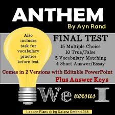 best anthem ayn rand ideas ayn rand books ayn  anthem test ayn rand