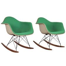 eames rocking chair green. vintage green eames upholstered rocking chair - one left 1
