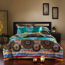 bright colored oriental bohemian style exotic bedding set queen size cotton bed sheets pillowcase duvet cover without filling in bedding sets from home