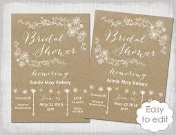 Bridal Shower Invitation Template Rustic Printable Templates Diy
