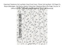 Download Telephone Call Log Book Grey Floral Cover Phone Call Log