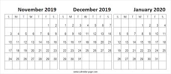 Blank Dec 2020 Calendar Nov Dec 2019 Jan 2020 Calendar Printable Horizontal Wallpaper