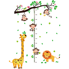 Cute Cartoon Animal Wall Sitcker Quality Pvc Stickers For Kids Room Baby Growth Height Chart Wall Sticker Baby Room Decoration Discount Wall Decals
