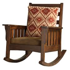 antique mission style rocking chair with american indian inspired cushion nice but not quarter sawn white oak