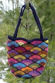 knitting pattern for felted stained glass fan bag