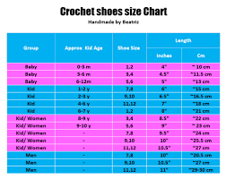 Size 3 Baby Shoes Chart Crochet Shoes Size Chart Free Printable Crochet Crochet