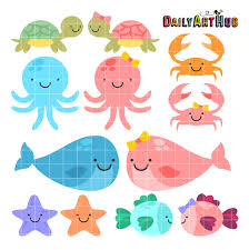 cute sea animals clipart. Simple Animals Cute Baby Sea Animals Clip Art Set Throughout Clipart R