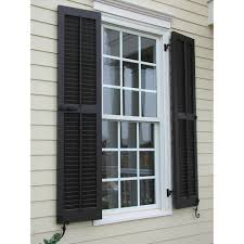 Ekena Millwork  In X  In Exterior Real Wood Pine Louvered - Faux window shutters exterior