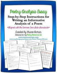 In particular, students should use compelling examples to support the main. Poetry Analysis Critique Essay Writing Common Core Aligned By Tracee Orman