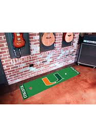 miami hurricanes 18x72 putting green runner interior rug