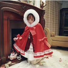 2019 2017 winter new woolen coat japanese female sweet hooded cape bow red coat warm style fur collar women cloak from qingchung