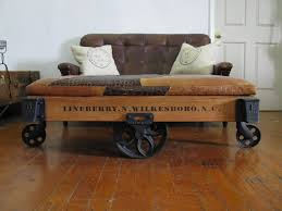 Industrial Factory Cart Coffee Table Repurposed Original Vintage Lineberry Industrial Railroad Factory