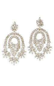 metallic stone statement earrings