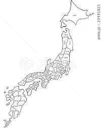 手書きの日本地図イメージモノクロ地面あり都道府県表示のイラスト