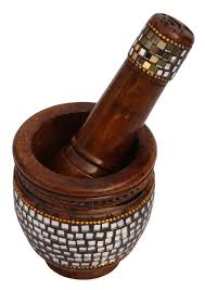 bulk whole hand carved 3 4 eucalyptus wood mortar pestle set enhanced with traditional style mirror