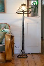 Vintage Industrlial Metal Floor Lamp Utiliarian Gun Metal Grey