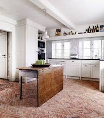 Brick Flooring In Kitchen Kitchen With Red Brick Floors And White Cabinets Brick Floor