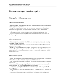 Cover Letter Financial Manager Job Description Financial Manager