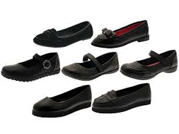 girls black school shoes mary jane slip on faux leather junior kids size