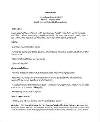 Fitness Resume Template Microsoft Word Personal Trainer Resume