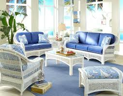 white indoor sunroom furniture. Sunroom Furniture Indoor White Wicker Rattan Family Set And Blue Sofa Sheet Color Combination