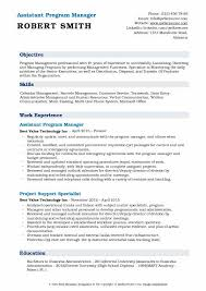 Free Resume Programs Assistant Program Manager Resume Samples Qwikresume