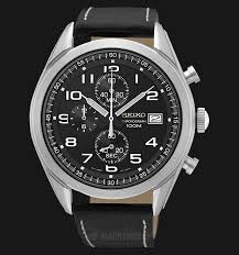 seiko chronograph ssb271p1 men watch black dial black leather strap thumbnail