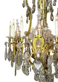 carved 19th century gilt bronze and crystal chandelier from the spelling manor for