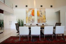 Large Living Room Wall Decor Fascinating Large Living Room With Three Abstract Painting Wall