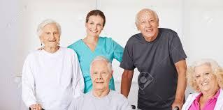Geriatric Nursing Happy Group Of Senior Citizens In Nursing Home With Geriatric