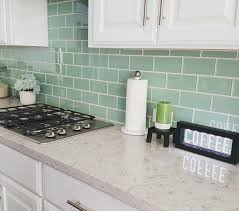 stylish green backsplash subway tile in seaglass with white grout quartz countertop cabinet idea lowe bathroom kitchen