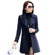 las trench coat double ted trench coat for women wool female overcoat red winter coat women