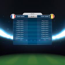 soccer lineup template soccer lineup with scoreboard vector image 1819365 stockunlimited