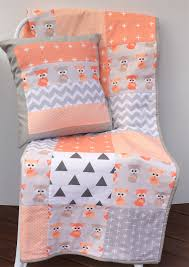 Patchwork Cot Quilt w/ Peach Baby Foxes and Gray patterns | Danoah ... & Patchwork Cot Quilt w/ Peach Baby Foxes and Gray patterns Adamdwight.com
