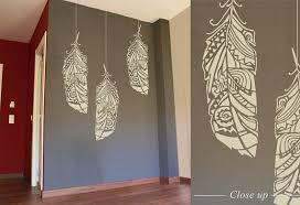 forest feathers large decorative scandinavian wall stencil for