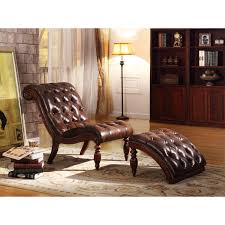 weston home faux leather on tufted chaise and ottoman brown com