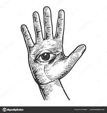 глаз на человеческой рукой ладонь эскиз эскиз гравировки векторные