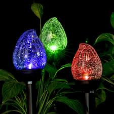 Solar Light Packs 3 Packs Cracked Glass Flame Shaped Dual Led Garden Solar Lights Outdoor 12 5