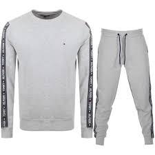 Mens Designer Loungewear Clothing Tommy Hilfiger Loungewear Tracksuit Grey Mainline Menswear