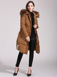 long quilted coat women faux fur hooded long sleeve letters printed winter padded coat no