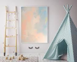 Living Room Art Abstract Pastel Peach Blue Canvas Art Nursery Art Pastel Living