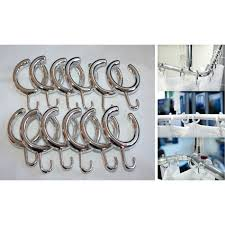 new elegant semi open shower curtain hooks set of 14 in white
