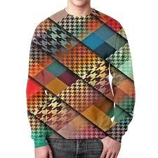Свитшот мужской с полной запечаткой <b>printio квадраты</b> цветные ...