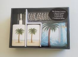 palm tree bath bathroom shower curtain set w lotion pump toothbrush rings new