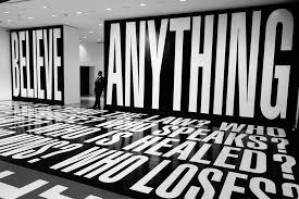 explainer what is postmodernism  believe anything by barbara kruger at hirshhorn washington dc steve rhodes