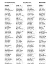 Fall 2011- Semester 1- Honor Roll - Holy Family High School