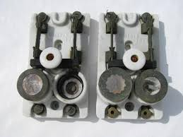 vintage deadstock electrical parts etc rare pair of old early electric porcelain architectural breaker switches w mica fuse sockets