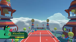 htc vive virtual reality video gaming system. developer vr unicorns offers a tennis game for htc vive that you play against yourself. htc virtual reality video gaming system