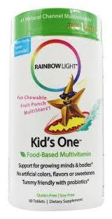 rainbow light kids one multistars multivitamin fruit punch 90 chewable tablets at luckyvitamin