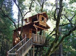 Decorations:Outstanding Simple Treehouse Designs Plan For Kids With Oak  Wooden Fence Stair Outstanding Simple